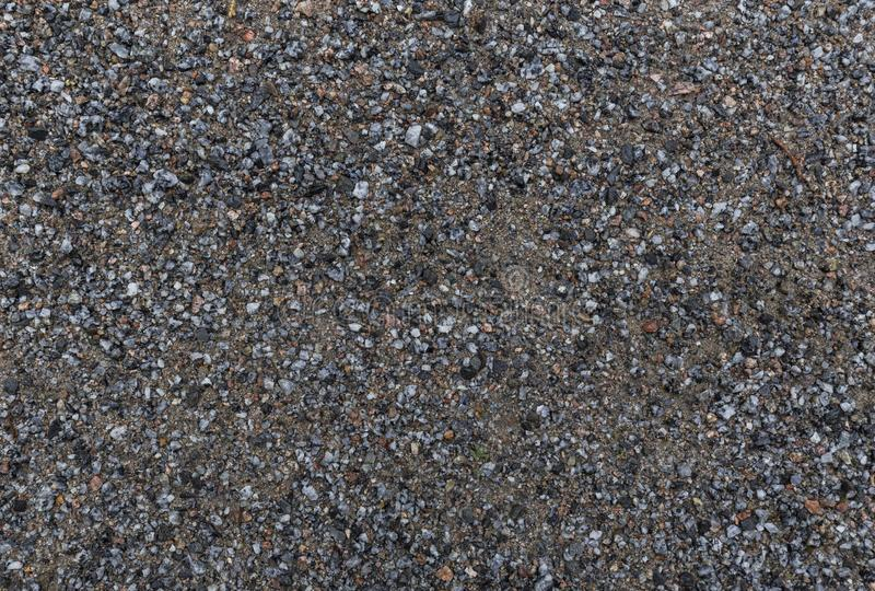 Background of wet sandy ground with gravel. Close-up of wet sandy ground with gravel, viewed from above. High resolution full frame textured background stock images