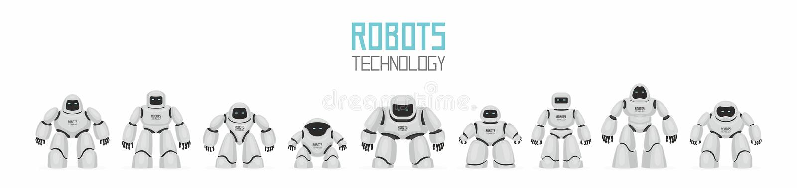 Background of White Different Robots stock illustration