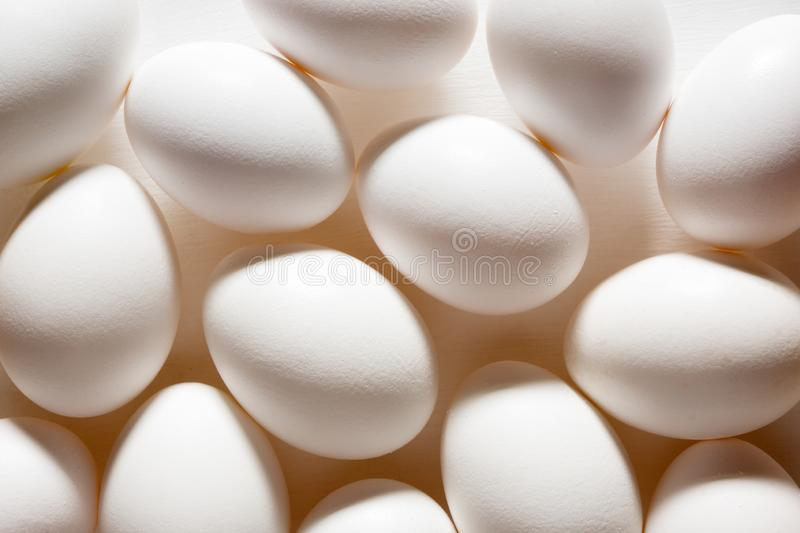 Background of white natural rustic eggs royalty free stock photos