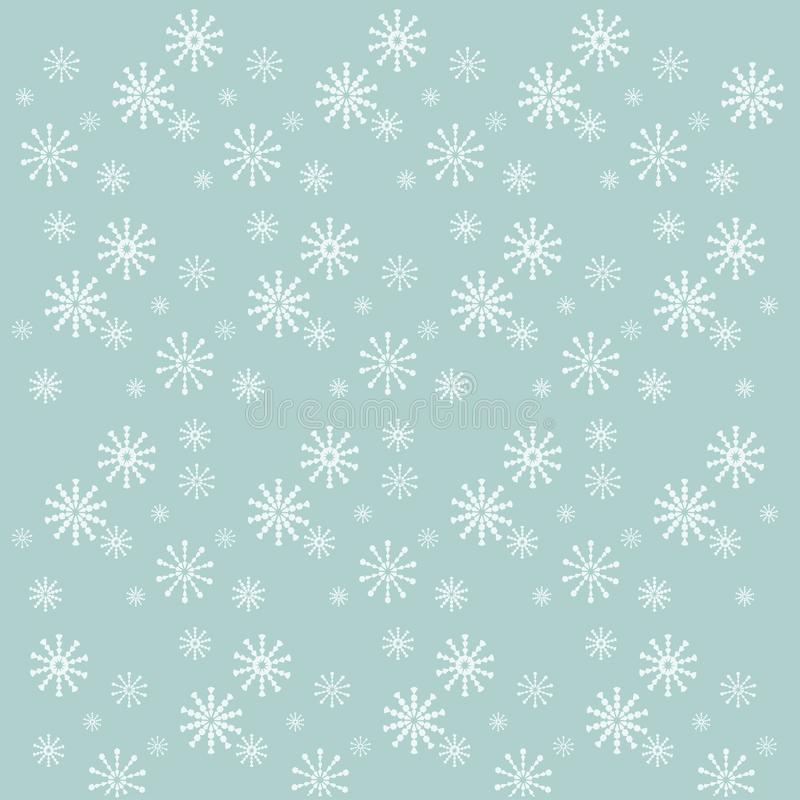 Background with white snow-flakes on blue, vector stock illustration