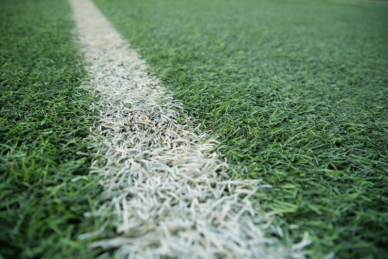 White stripe line on green soccer pitch stock image