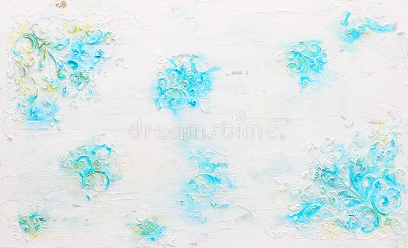 Background of white wooden vintage wall with floral emboss details royalty free stock photos