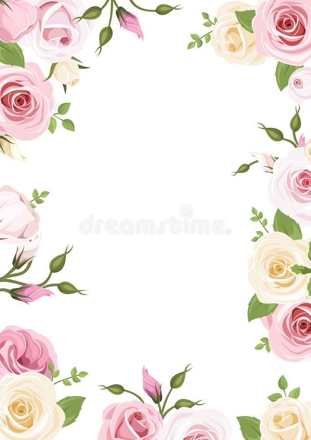 Free Background With Pink And White Roses And Lisianthus Flowers. Vector Illustration. Royalty Free Stock Photography - 50400707