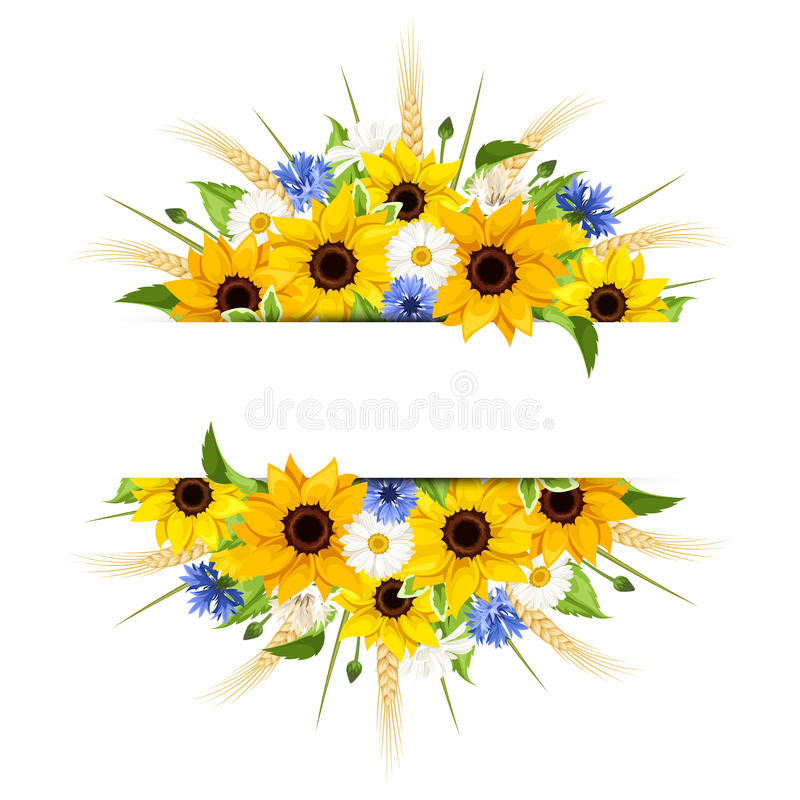 Free Background With Sunflowers, Daisies, Cornflowers And Ears Of Wheat. Vector Eps-10. Royalty Free Stock Photo - 71918615