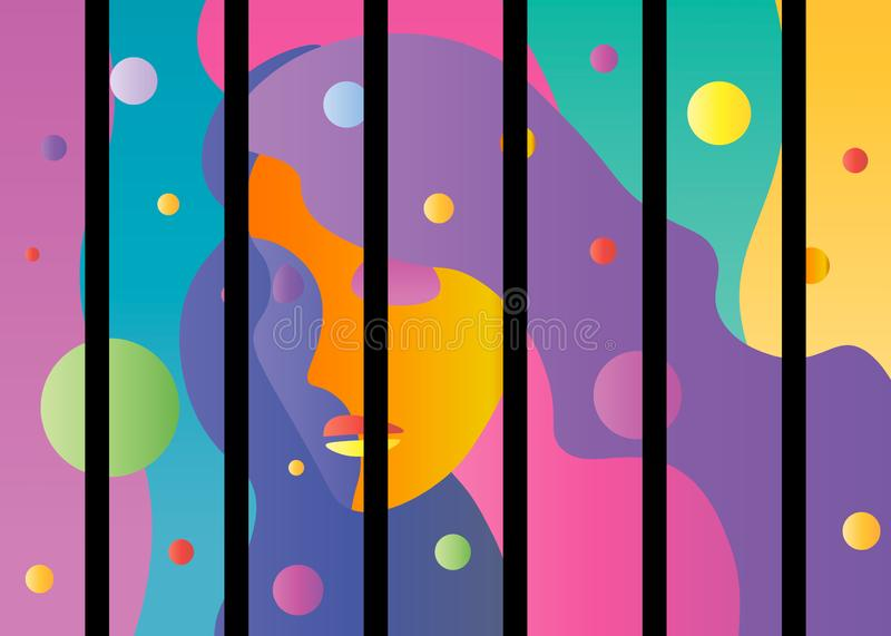 Background with Woman. Vector abstract bright color young female face vector illustration