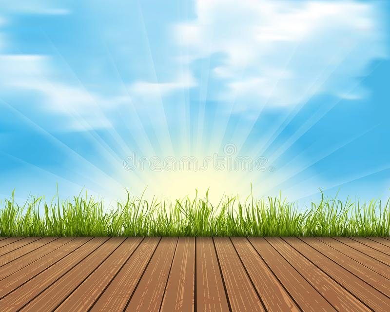 Background with wood and grass vector stock illustration