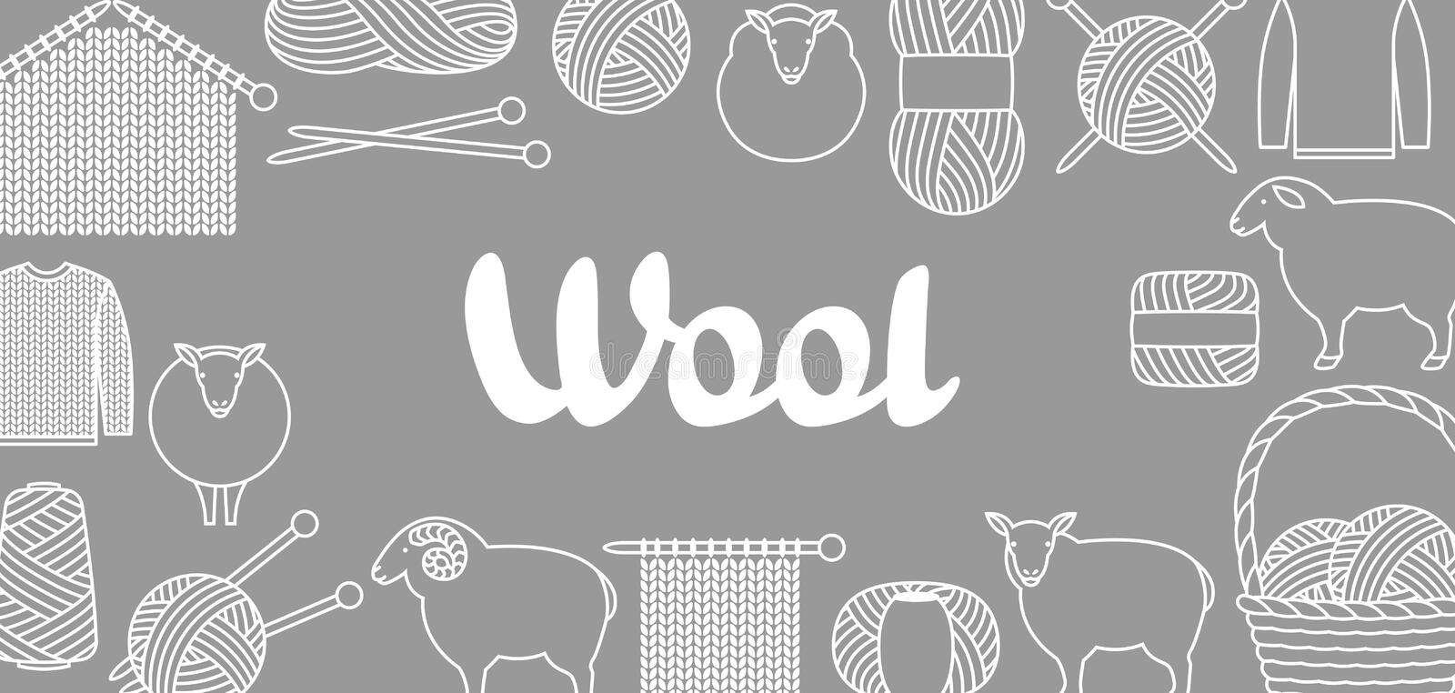 Background with wool items. Goods for hand made, knitting or tailor shop.  royalty free illustration