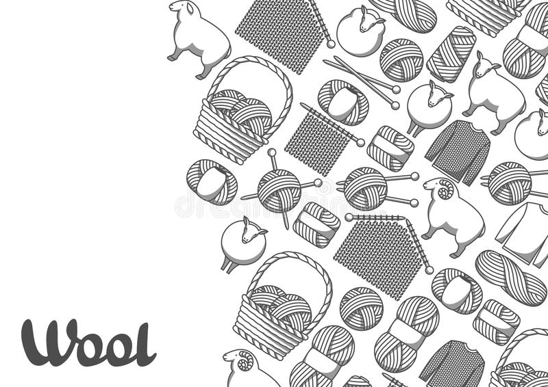 Background with wool items. Goods for hand made, knitting or tailor shop.  vector illustration