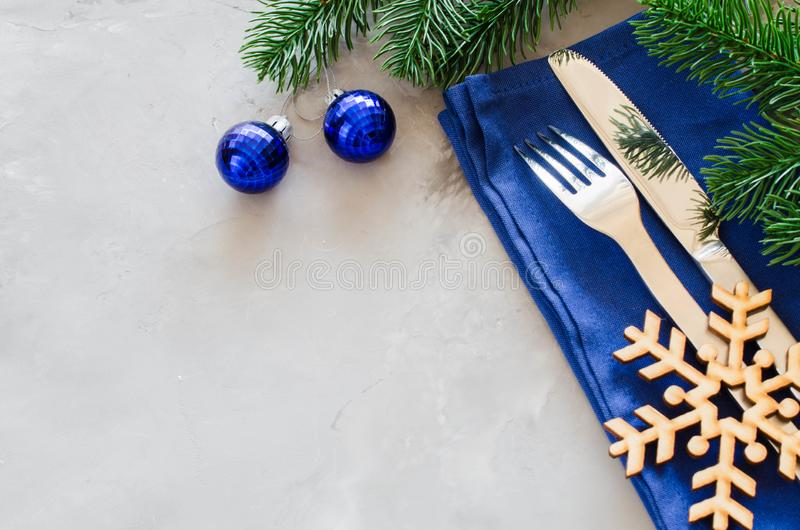 Background for Writing the Christmas Menu. Winter Table Setting. stock photography