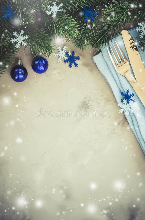 Background for Writing the Christmas Menu. Winter Table Setting. royalty free stock images