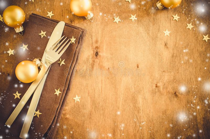 Background for Writing the Christmas Menu. Winter Table Setting. royalty free stock photography