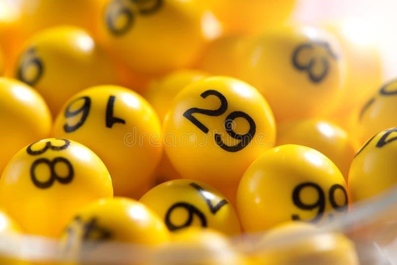 Background of yellow balls with bingo numbers stock image