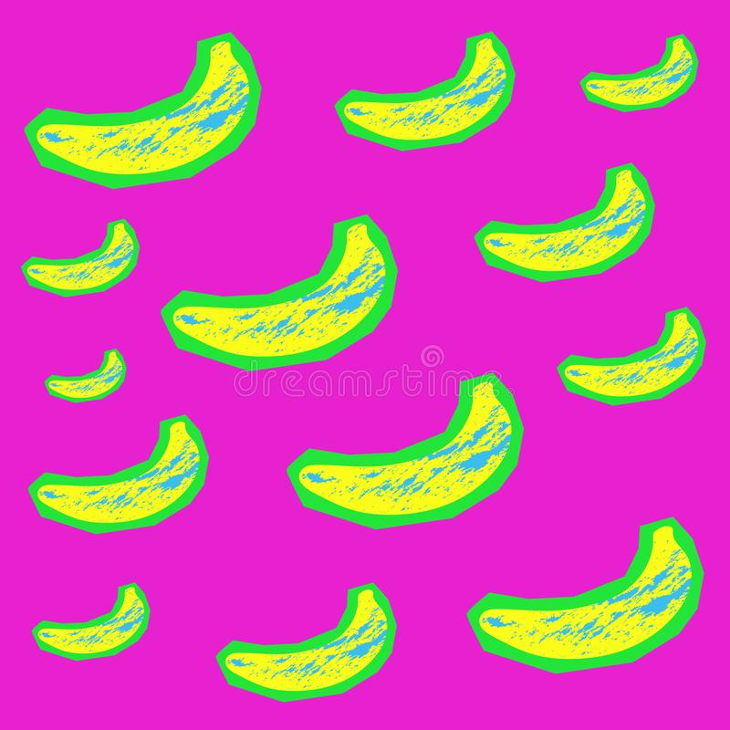 Background of yellow bananas with a grunge blue texture on carved green paper in zin style. stock illustration