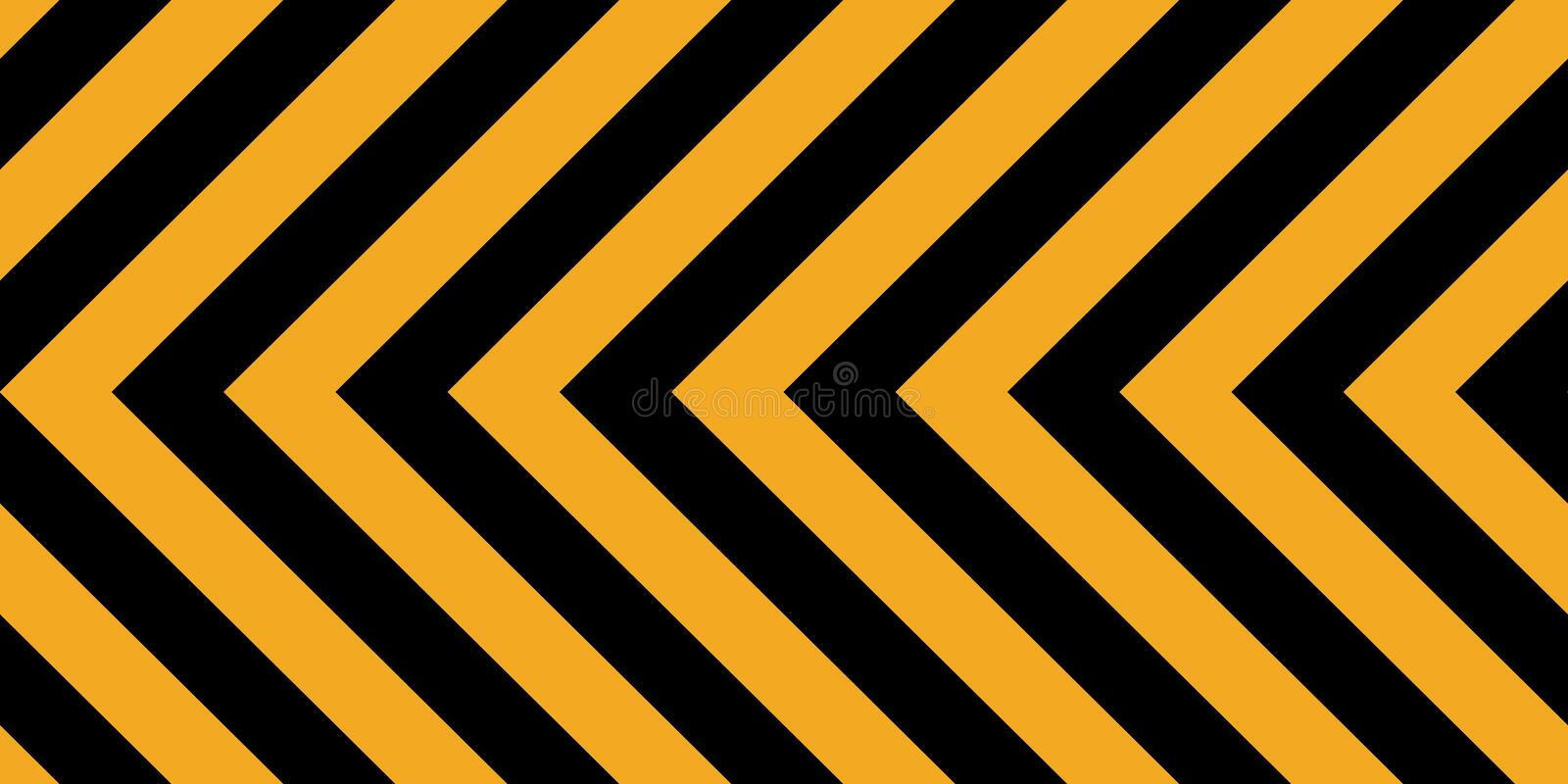 Background yellow black stripes, industrial sign safety stripe warning, vector background warn caution construction stock illustration