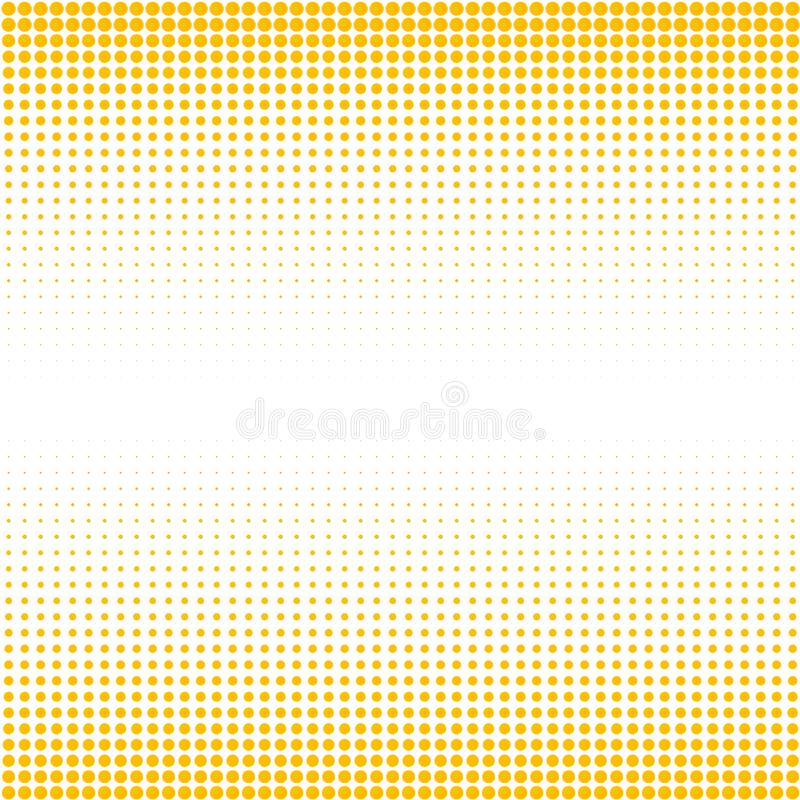 The background of yellow dots of different sizes have different density on white . stock illustration