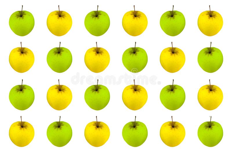 Background yellow green apple whole fruit on white background, striped flowers juicy fruit stock images
