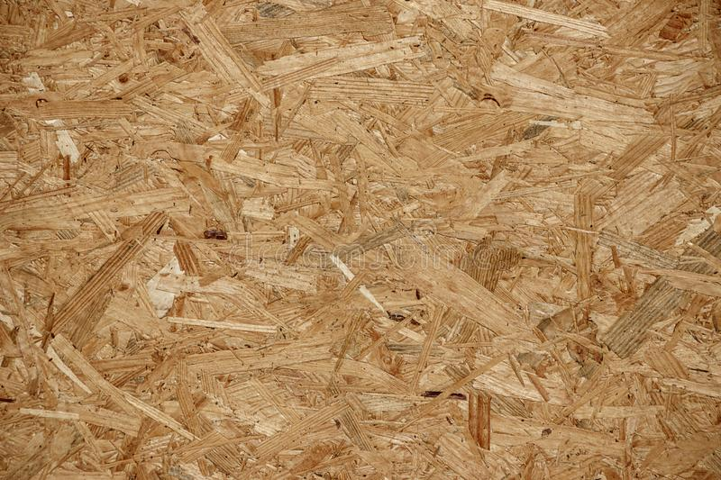 Background of yellow pressed wood chips. Close-up stock photo