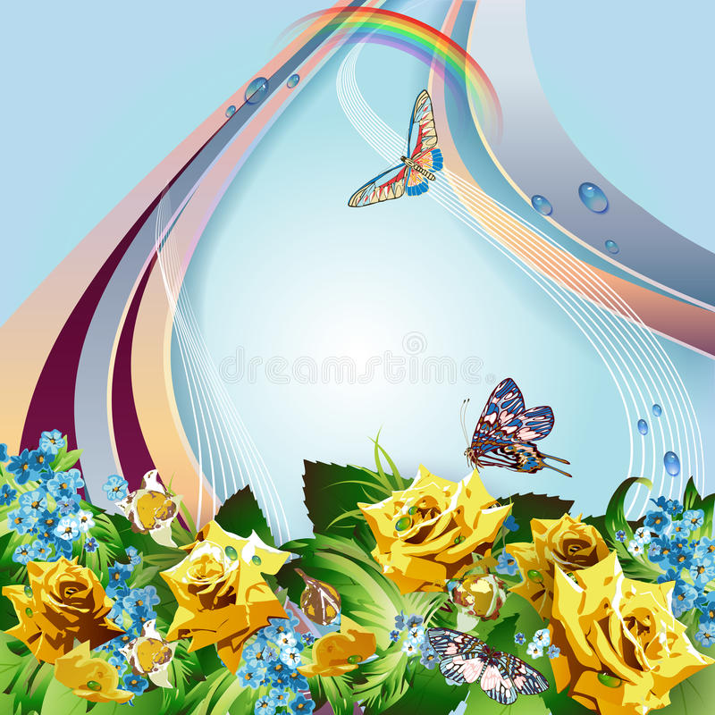 Download Background With Yellow Roses Stock Vector - Illustration: 26370777