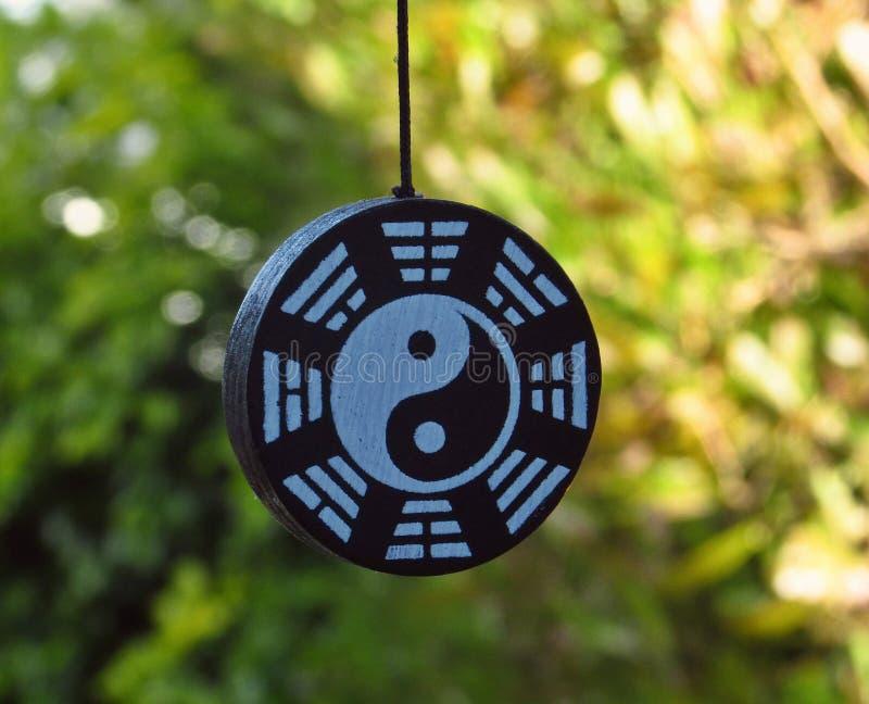 Background with ying yang symbol - Zen garden royalty free stock photo