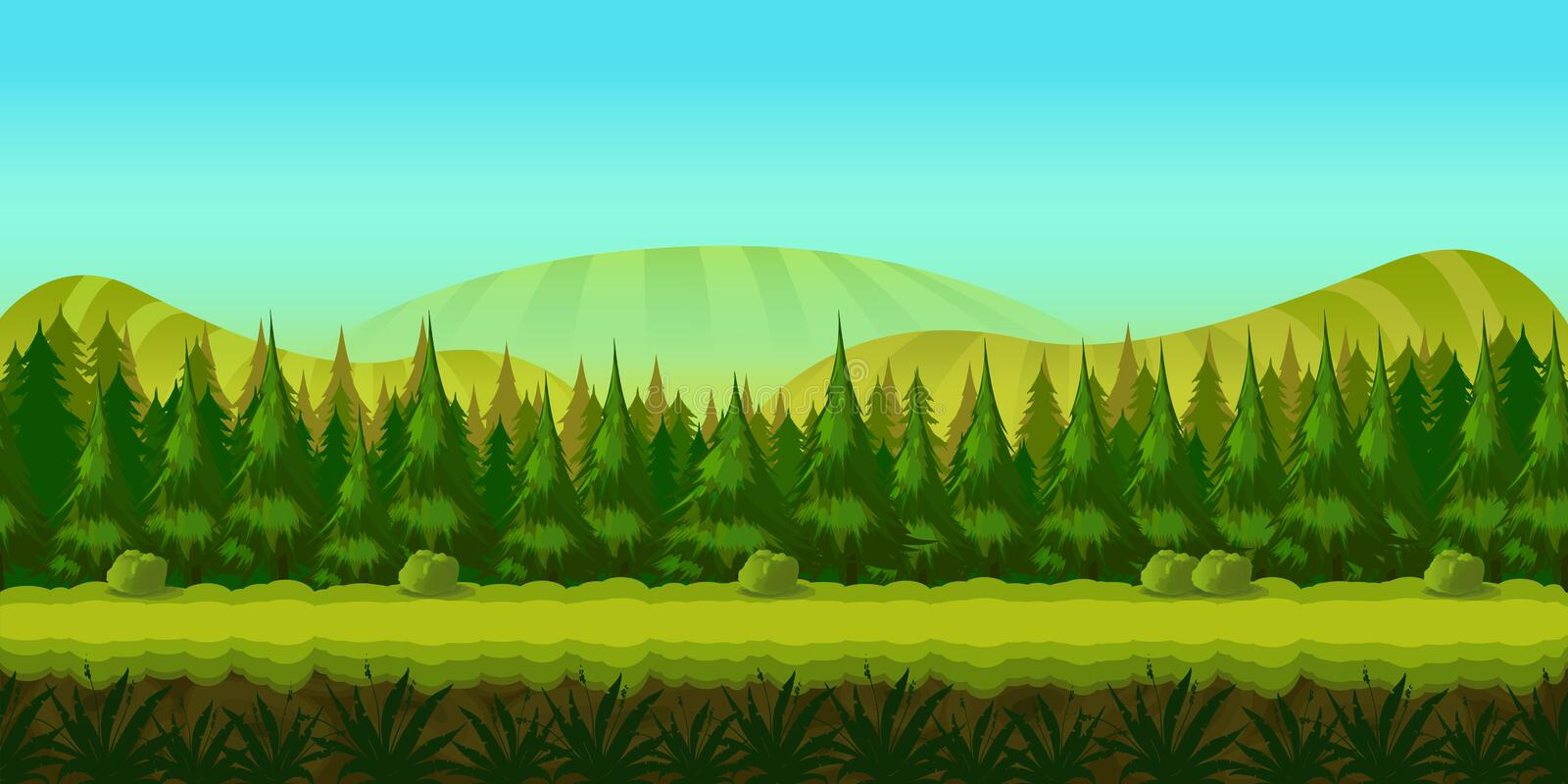 Background for you game with green forest on foreground and hills and fields on background. vector illustration