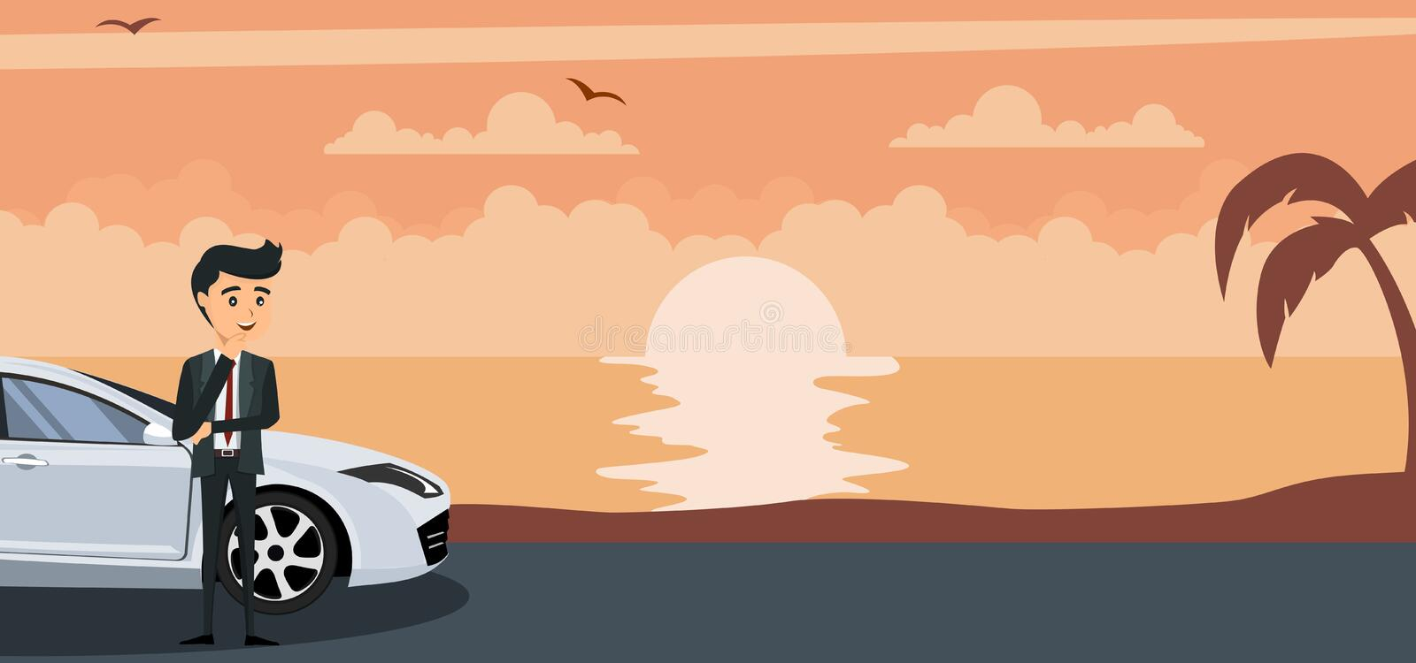 Background of young businessman in his car on a sunset at the beach. Vector vector illustration