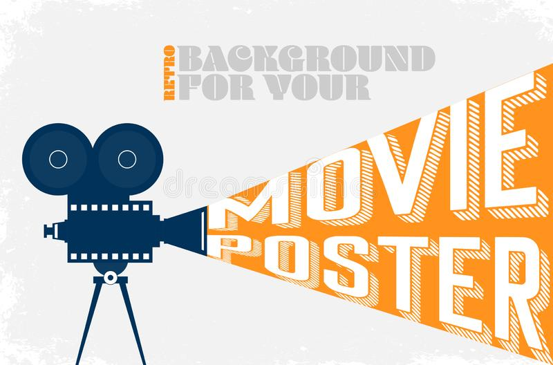 Background for your cinema movie poster in retro style stock illustration