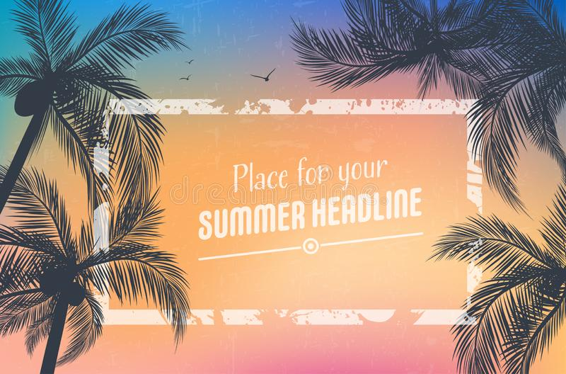 Background for your summer design with palm trees royalty free illustration