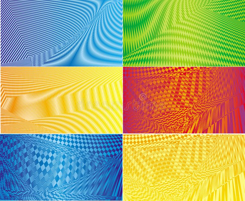 6 abstract geometric backgrounds in bright colors. Vector picture. royalty free illustration