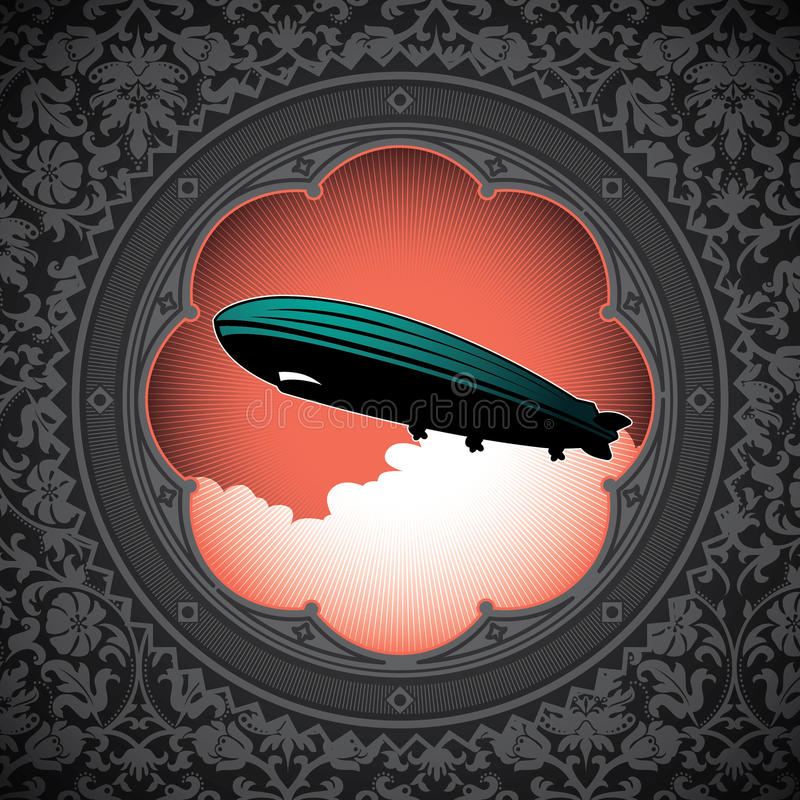 Background with zeppelin. royalty free illustration