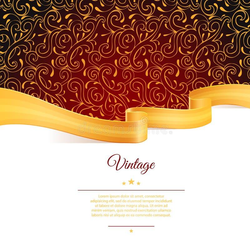 Backgroundd com fita do ouro ilustração do vetor