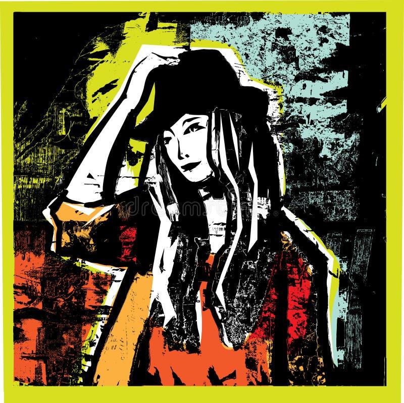 backgrounde grunge无法认出的妇女年轻人 向量例证