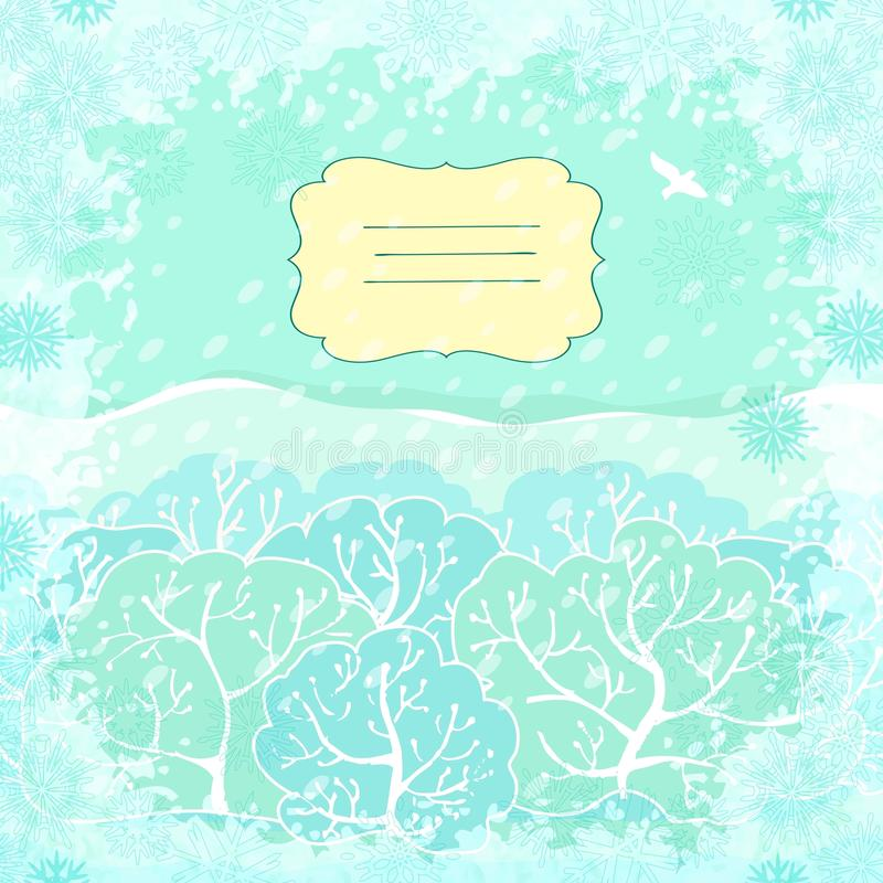 Backgroundl del vector con paisaje del invierno stock de ilustración