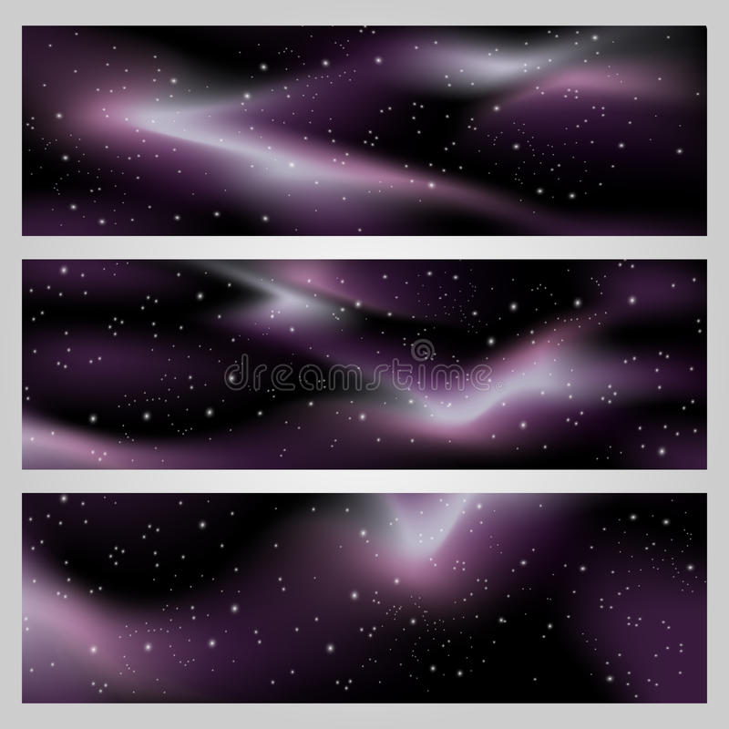 Backgrounds for banners. Vector deep night sky, space background for banners with stars and purple galaxies vector illustration