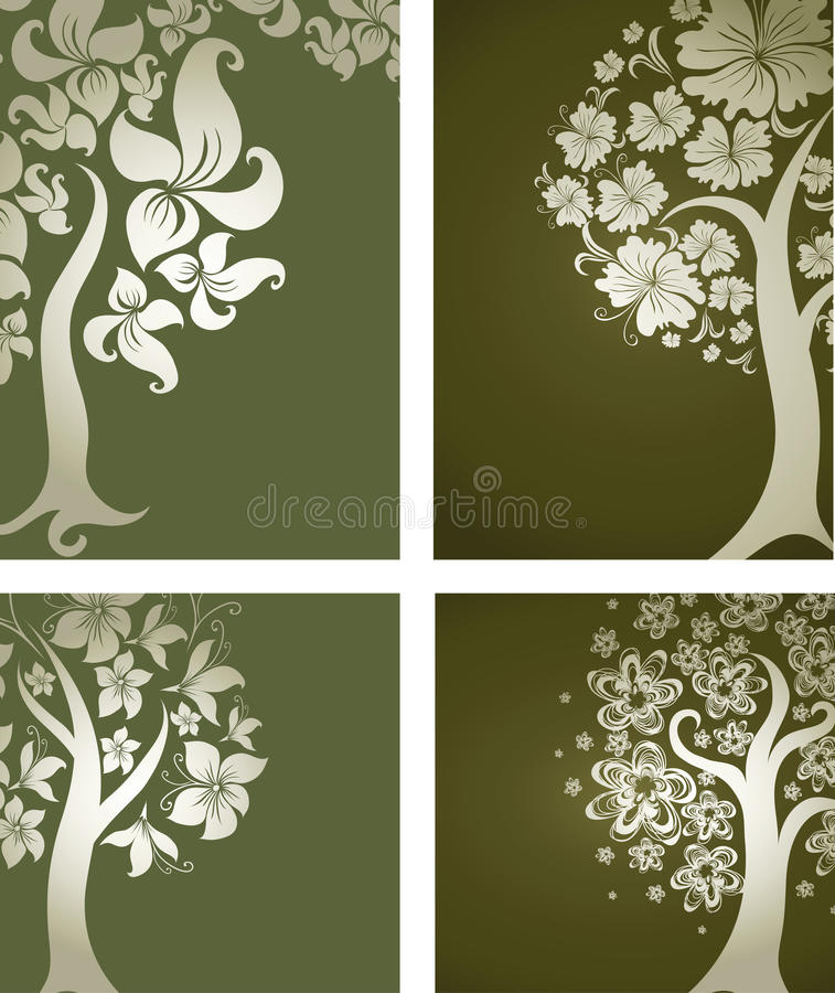 Backgrounds with decorative tree from flowers. Vector set of backgrounds with decorative tree from flowers. Thanksgiving