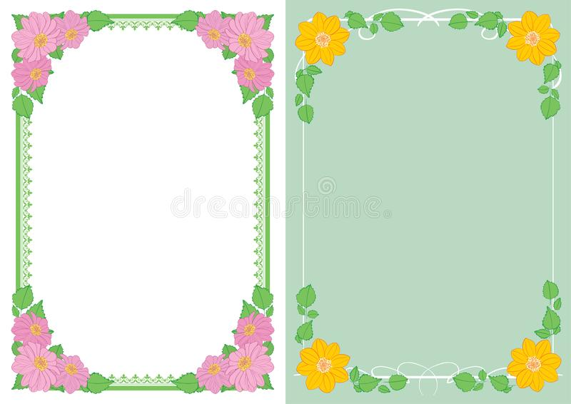 Backgrounds with flowers in corners - vector vertical frames with dahlias. Backgrounds with flowers in corners - vector vertical frames with  dahlias vector illustration