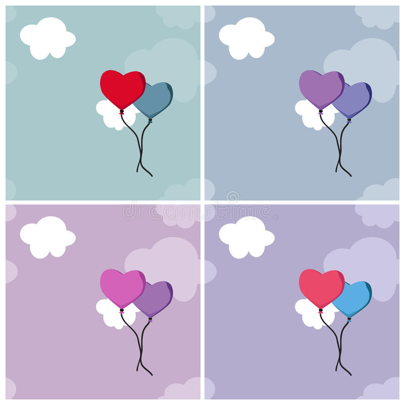 Backgrounds with heart balloons and clouds stock photos