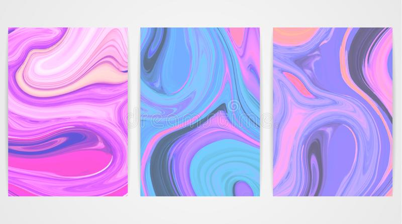 Backgrounds with marbling. Marble texture. Bright paint splash. Colorful fluid royalty free illustration