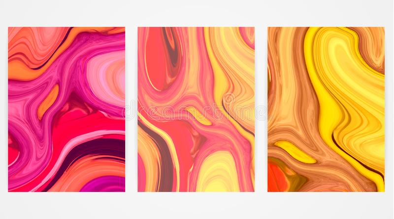 Backgrounds with marbling. Marble texture. Bright paint splash. Colorful fluid stock illustration