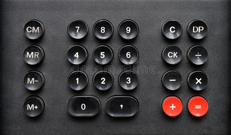 Old calculator keypad stock image