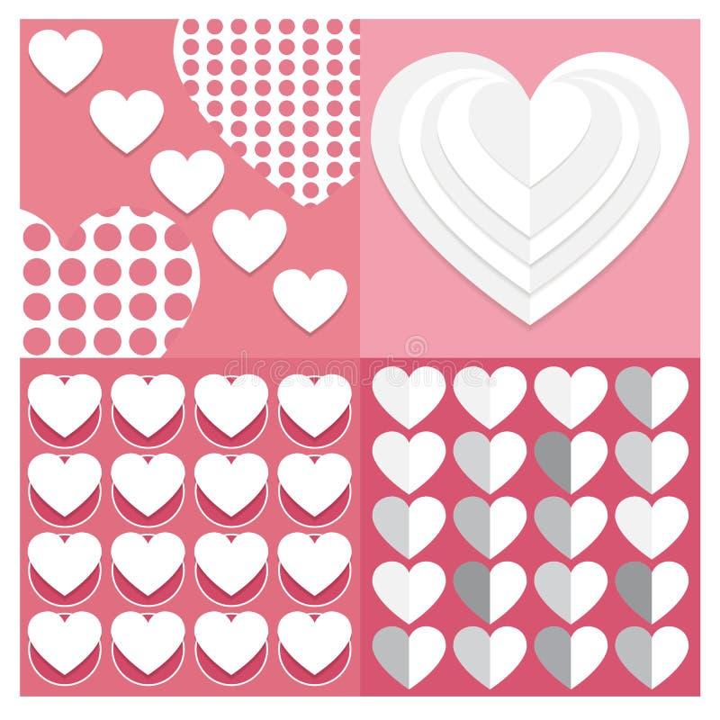 Backgrounds Vector set set Valentine heart of seamless patterns. Ge. Backgrounds Vector set Valentine heart of seamless patterns. Geometric repeating textures stock illustration