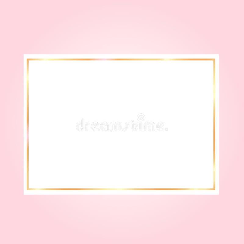 backgroundwith cor-de-rosa um quadro dourado no Livro Branco ilustração do vetor