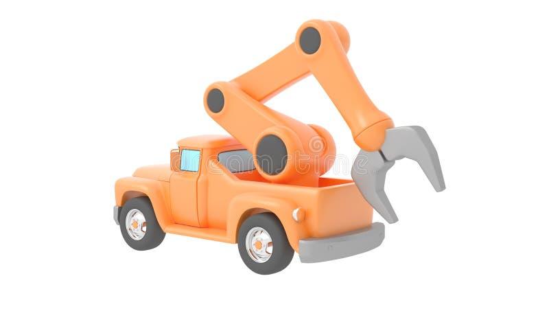 backgroung起重机查出在玩具卡车白色 3d例证 皇族释放例证