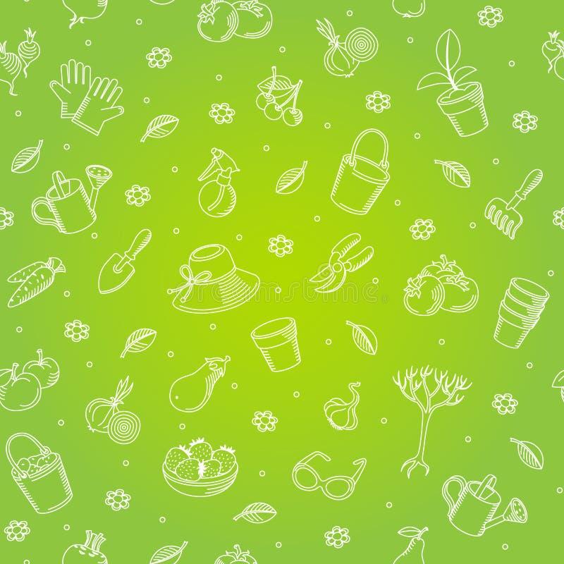 Backgroung senza cuciture di vettore degli strumenti di giardino disegnati a mano illustrazione vettoriale