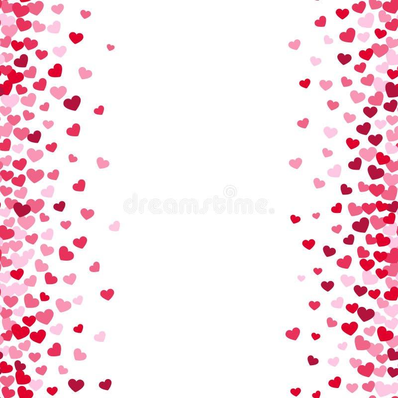 Backgrouns blancs de belle valentine romane avec les frontières roses et rouges de coeur illustration libre de droits