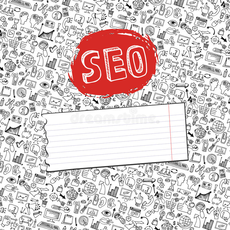 Backgrround de los iconos del seo del garabato Contexto del negocio libre illustration