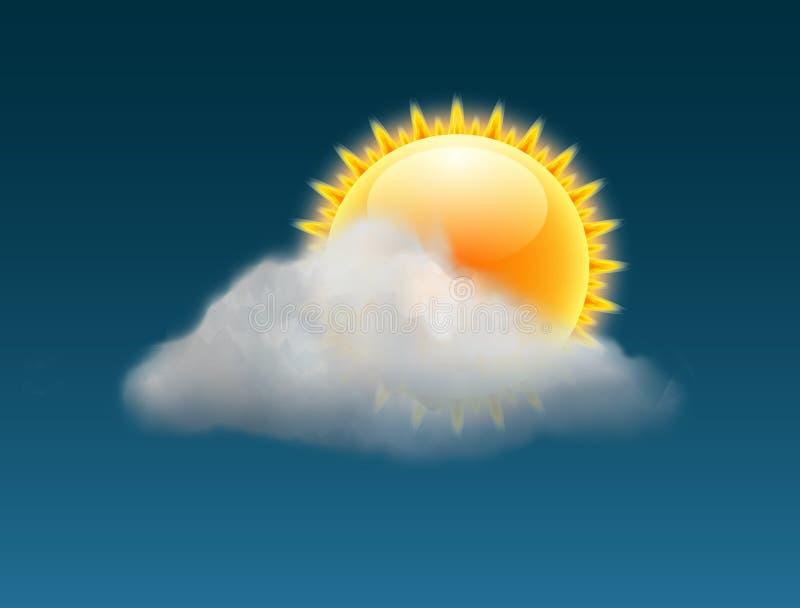 Backgrund погоды вектора неба облака Знамя прогноза значка теплого дня иллюстрации Солнца солнечное иллюстрация вектора