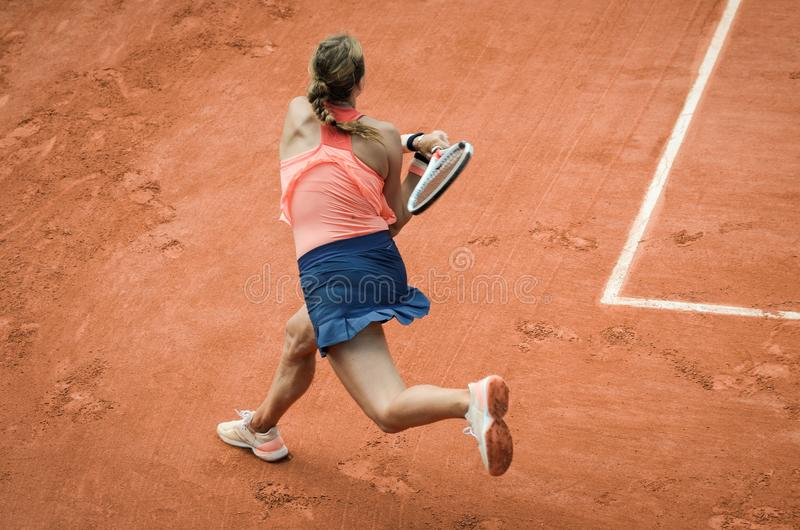 Backhand swing of woman playing tennis royalty free stock photo