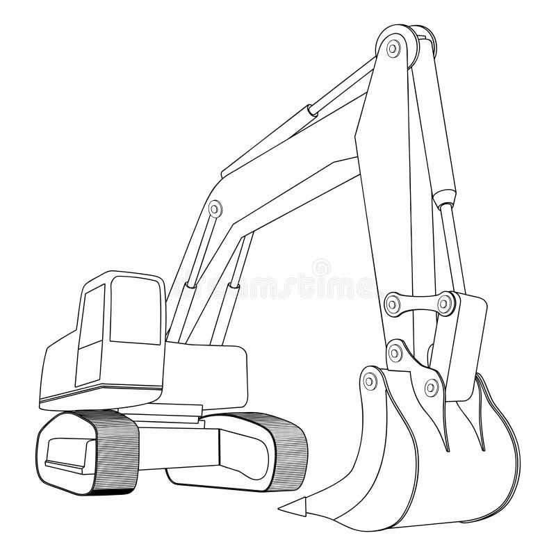 Backhoe, Żółty ekskawator, budowa pojazdy Prosty ekskawatoru pojęcie ilustracja wektor