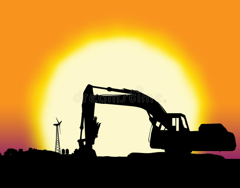 Backhoe with big yellow sunset. And farm setting with copy space stock illustration