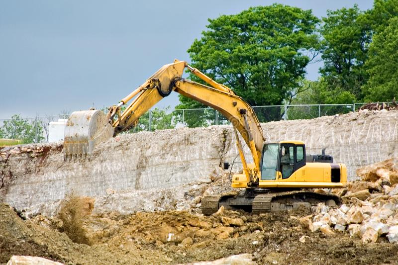 Download Backhoe dumping dirt stock image. Image of equipment, stie - 2625661